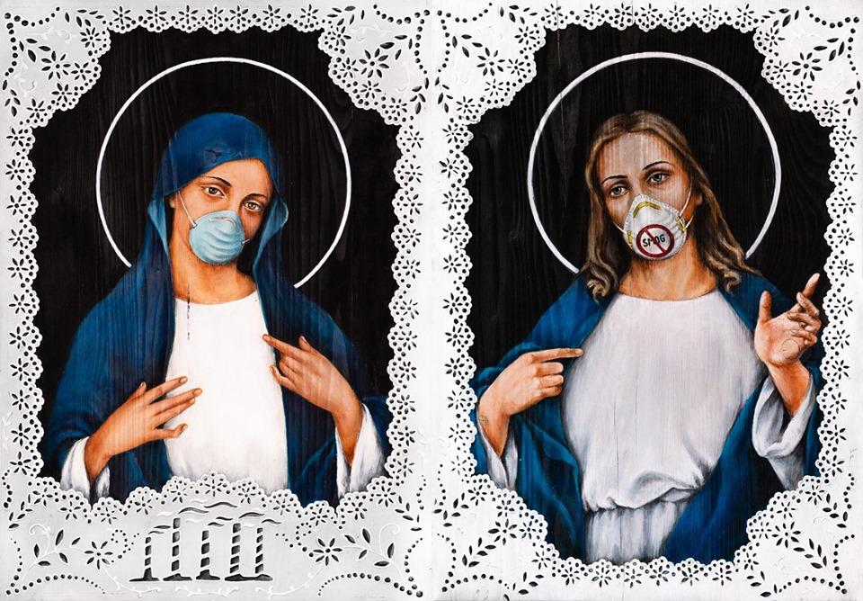 obrazy malowane, matka boska